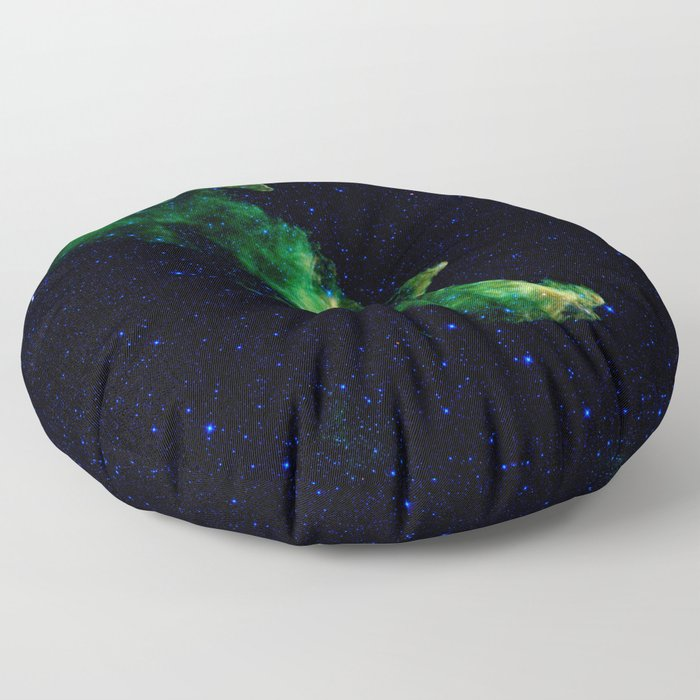 Galaxy: Green Witch's Head Nebula Floor Pillow