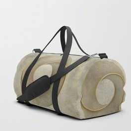 Geometrical Line Art Circle Distressed Gold Duffle Bag