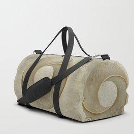 Geometrical Line Art Circle Distressed Gold Duffle Bag