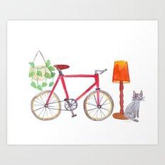 Cat bike lamp plant Art Print