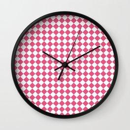 Small Diamonds - White and Dark Pink Wall Clock