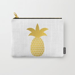 Gold silhouette of pineapple. Golden foil tropical fruit. Carry-All Pouch