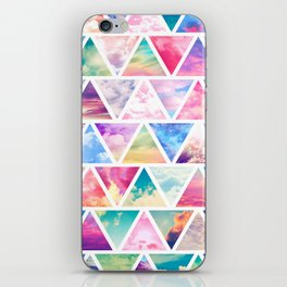 Pink Clouds Teal Sky Abstract Triangles Pattern iPhone Skin