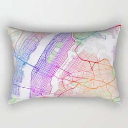New York City Map of the United States - Colorful Rectangular Pillow