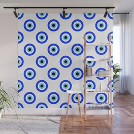 Evil Eye White Repeat Wall Mural