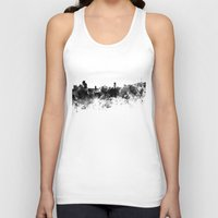 seoul Tank Tops featuring Seoul skyline in black watercolor by Paulrommer