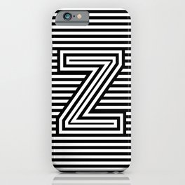 Track - Letter Z - Black and White iPhone Case