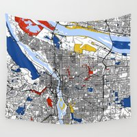 portland Wall Tapestries featuring Portland by Mondrian Maps