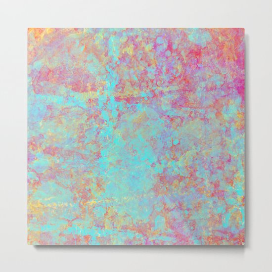 Abstract Painting - Textured cyan and purple Metal Print