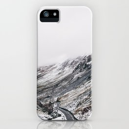 Honister Pass covered in snow. Cumbria, UK. iPhone Case