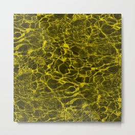 Highlighter Neon Yellow Underwater Wavy Rippling Water Metal Print