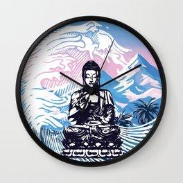 Buddha Tropical Mountain Wave Wall Clock