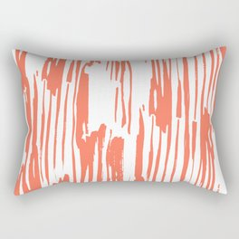 Bamboo Stripes White on Deep Coral Rectangular Pillow