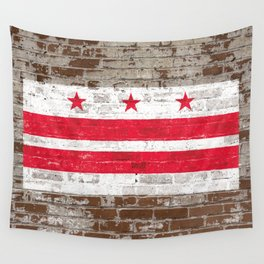 Washington D.C. Flag on Brick District of Columbia Standard Wall Tapestry