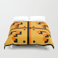 mario bros Duvet Covers featuring Question mark Mario Bros. blocks  by Rebekhaart