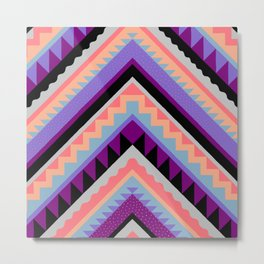 Wavy Chevron - Peach Plum Metal Print