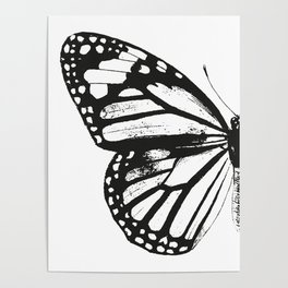 Monarch Butterfly | Left Butterfly Wing | Vintage Butterflies | Black and White | Poster