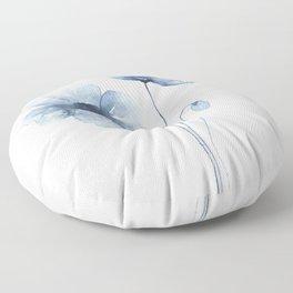 Blue Watercolor Poppies Floor Pillow