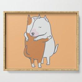 Bull Terrier Hugs Serving Tray