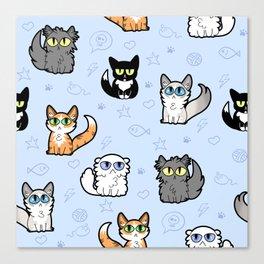 House Cats - Cartoon Pattern Blue Canvas Print