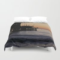 santa monica Duvet Covers featuring Santa Monica Beach Life by Amy J Smith Photography
