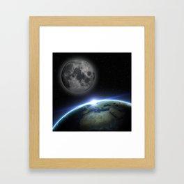 Earth and moon Framed Art Print