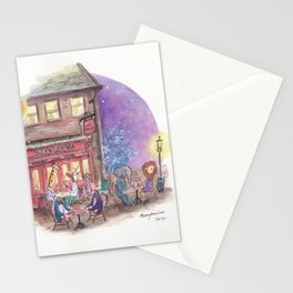 Penguins, giraffe, lion, elephant and others enjoying a night out at Cafe Rouge Stationery Cards