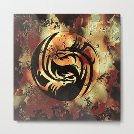 Yin and Yang Dragons Artwork Metal Print