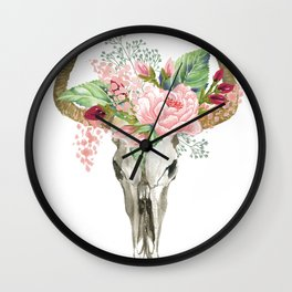 Bohemian bull skull with flowers Wall Clock