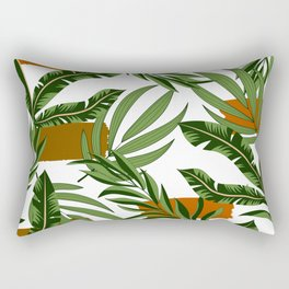 Abstract seamless pattern with tropical colorful plants and leaves on a delicate background. Beautiful exotic plants. Tropic leaves in bright colors. Rectangular Pillow