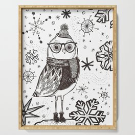 Cold Winter Owl Serving Tray