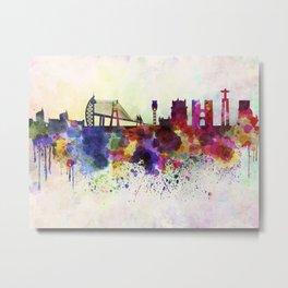 Lisbon skyline in watercolor background Metal Print