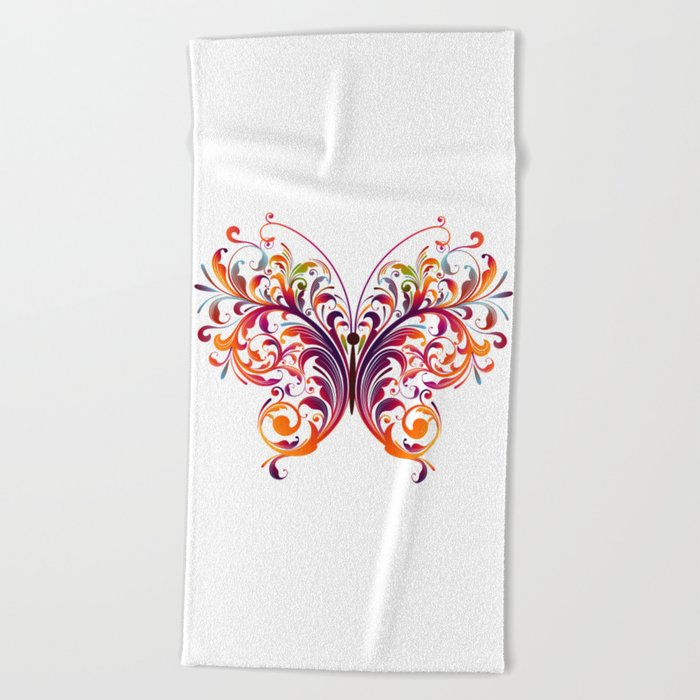 Multicolor Butterfly Beach Towel