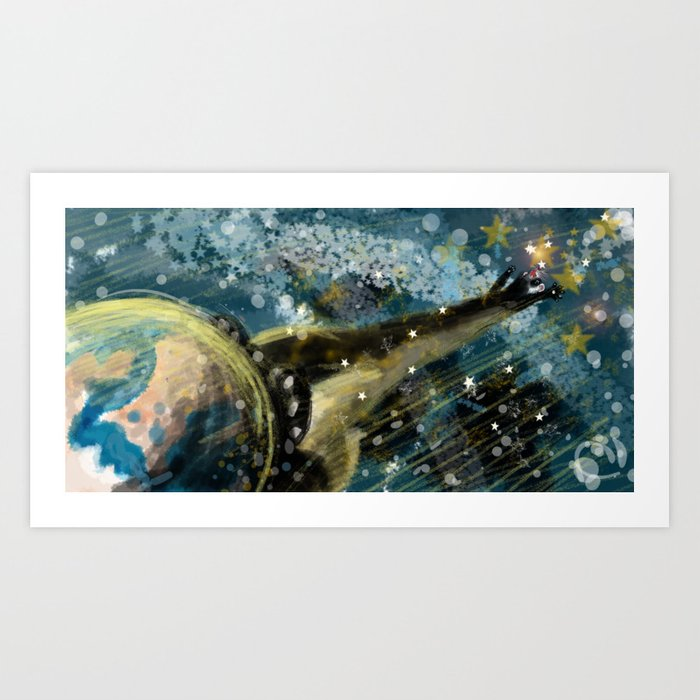 Ferret World - Walking to the moon (c) 2017 Art Print
