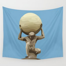 light blue Man with Big Ball Illustration Wall Tapestry
