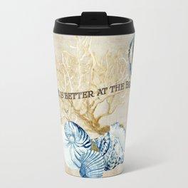 Indigo Ocean Sea Shells Angelfish Coral Watercolor Artwork Travel Mug