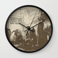 boardwalk empire Wall Clocks featuring boardwalk by Nechifor Ionut
