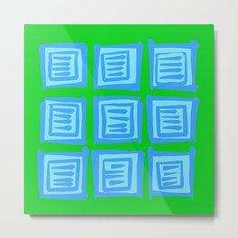 Blue on green square pattern Metal Print