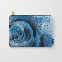Blue Acrylic Rose Carry-All Pouch