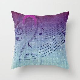 Aqua Purple Ombre Music Notes Throw Pillow