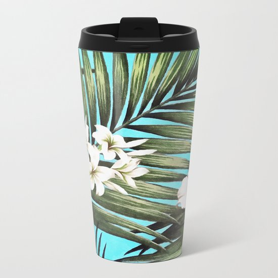 Palm leaves and flowers Metal Travel Mug