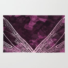 pink dragonfly wing camo Rug