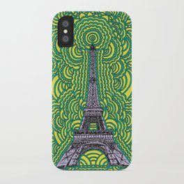 Eiffel Tower Drawing Meditation - purple/yellow/teal iPhone Case
