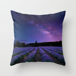 Milky Way over Lavender Fields Photographic Landscape Throw Pillow