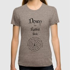Alice In Wonderland Down The Rabbit Hole MEDIUM Tri-Coffee Womens Fitted Tee