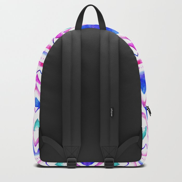 Abstract blue purple pink hand drawn watercolor geometric aztec pattern Backpack
