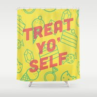 treat yo self Shower Curtains featuring Treat Yo' Self by Zeke Tucker