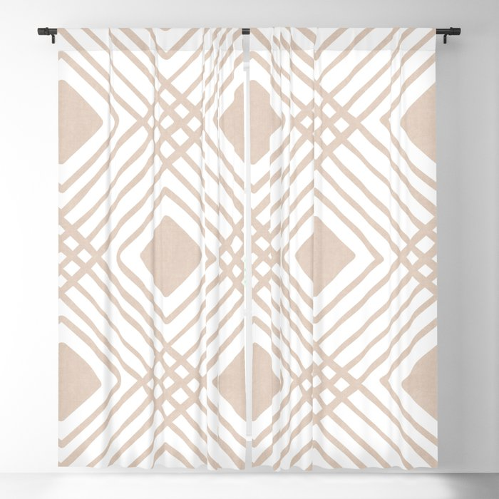 Criss Cross Diamond Pattern in Tan Blackout Curtain