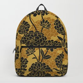 Black and gold. Zinnia Flower Pattern Backpack