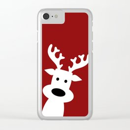 Reindeer on red background Clear iPhone Case